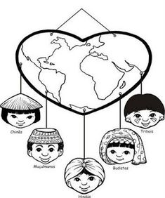 Recursos para Ministério Infantil: MISSÕES Earth Day Crafts, World Crafts, Fun Crafts, Diy And Crafts, Crafts For Kids, Continents And Oceans, World Thinking Day, Board Decoration, Kindergarten Art