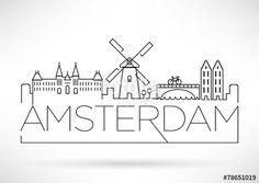 """Descargue el vector libre de derechos """"Amsterdam City Line Silhouette Typographic Design"""" creado por avniunsal al precio más bajo en Fotolia.com. Explore nuestro económico banco de imágenes para encontrar el vector perfecto para sus proyectos de marketing."""