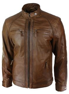 Mens Retro Style Zipped Biker Jacket Real Leather Soft Tan Brown Casual #Aviatrix #2101