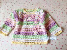 Irish crochet &: Crochet for kids. Crochet Baby Sweater Pattern, Crochet Baby Jacket, Crochet Baby Sweaters, Crochet Baby Dress Pattern, Baby Sweater Patterns, Baby Dress Patterns, Baby Girl Crochet, Crochet For Kids, Baby Knitting