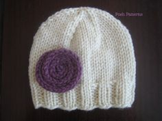 Easy beginner knit hat pattern. Directions for working it in the round, or flat on single point needles! Sizes included: Newborn to 3 Months, 3 to 6 Months, 6 to 12 Months, 12 to 24 Months, Toddler, 5T to Adult.