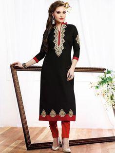 Fashionable Black Cotton Casual Kurti - Kurtis - Rakhi Sale