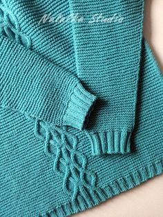 Hand Knitted Sweater Knit Sweater Knitwear for women Pullover Knit sweater Womens open shoulder Knitted jumper with raglan Spring sweater Azure sweater Material: 55% Cotton, 45% Acrylic