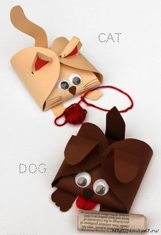 Упаковка маленького подарка в виде кошки и собачки