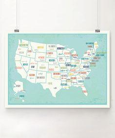 Love this Blue USA Map Print by Grand Adventure Art on #zulily! #zulilyfinds
