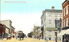 Colour postcard from 1922 with a view of King Street near the corner of Erb in… Waterloo Ontario, Gone Days, Main Library, Local History, Twin Cities, The Good Old Days, Old Pictures, Street View, Canada
