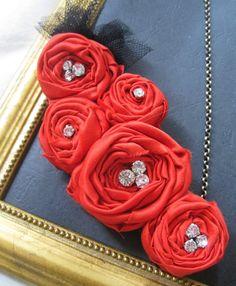 Handmade cloth flowers with rhinestone centers