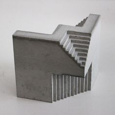 """Canadian architect and sculptor David Umemoto creates architectural sculptures that remind us giant concrete monuments in the former Yugoslavia countryside, or """"giant brutalist buildings reduced… Concrete Sculpture, Concrete Art, Concrete Design, Sculpture Art, Concept Models Architecture, Architecture Design, Brutalist Buildings, Architectural Sculpture, Geometric Sculpture"""