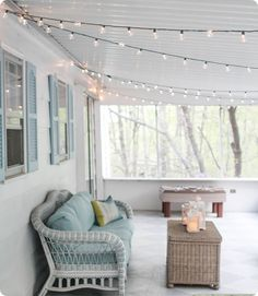 A gorgeous porch light solution - Lovely Etc. - Simple screened porch lights – outdoor string lights make everything look pretty and are easy to i - Edison Lighting, Pergola Lighting, Outdoor Lighting, Lighting Ideas, Beacon Lighting, Porch String Lights, Apartment String Lights, Outdoor Porch Lights, Fresco