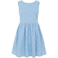 Blue Sleeveless V Back Daisy Broderie Skater Dress found on Polyvore