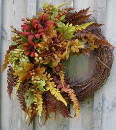 Fall Wreath Autumn Woodland Designer Floral by NewEnglandWreath