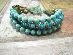Beautiful Brass and Turquoise Boho Gypsy Bohemain by BeadDazzlers