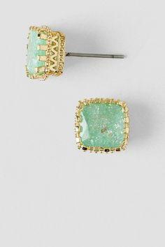 Jacey Cubic Zirconia Stud Earrings in Mint