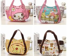58a2fffacf59 Kawaii Hello Kitty My Melody Little Twin Star Rilakkuma Canvas Shopping Bag  Foldable Shoulder Bags Beach Bag Cartoon Tote Bags