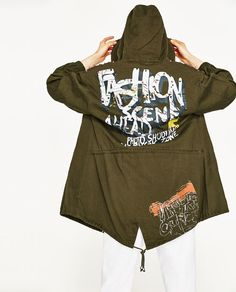 New Outfits, Cool Outfits, Long Parka, Graffiti Prints, Zara United States, Outerwear Women, Zara Women, Coats For Women, Leather Men