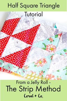 Did you know that you can use jelly rolls to make a half square triangle quilt block?  Yes!  Use the easy stip method to cut lots of half square triangle blocks at a time!  This tutorial also includes an easy chart for determining what measurements you need.  #quilt #quilttutorial #quiltblock #quilting #quiltingprojects #sewingprojects #quiltideas #sewingideas #halfsquaretriangle
