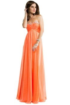 long orange prom dresses