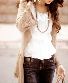 cute... (my version: light brown Old Navy open sweater, white J. Crew flower tank top, red handmade necklace, gold Stella & Dot fringey hoops, True Religion skinny jeans, tan Target boots, brown Chloe purse)
