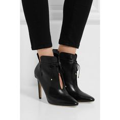 Jimmy Choo Murphy cutout leather ankle boots, Women's, Size: 41.5 (3,095 PEN) via Polyvore featuring shoes, boots, ankle booties, black leather bootie, black booties, cut out booties, black cutout booties y short black boots