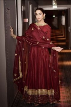 Buy Maroon Silk Anarkali Suit With Dori Work - Salwar Kameez for Women from Andaaz Fashion at Best Prices. Pakistani Fashion Party Wear, Indian Fashion Dresses, Dress Indian Style, Indian Designer Outfits, Pakistani Outfits, Indian Outfits, Indian Gowns, Designer Anarkali Dresses, Designer Party Wear Dresses