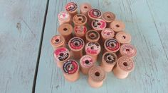 Lot of Vintage Coats and Clark & Other Antique WOODEN THREAD SPOOLS by MarblecupcakesloftCo on Etsy