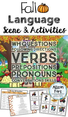 Use this engaging fall scene & corresponding activities to target various expressive and receptive goals! Wh questions, following directions, prepositions, pronouns, and more.