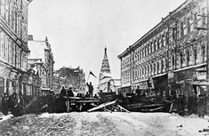 1905 - A barricade erected at Arbat Street in St Petersburg by workers of Schmidt factory during the 1905 uprising