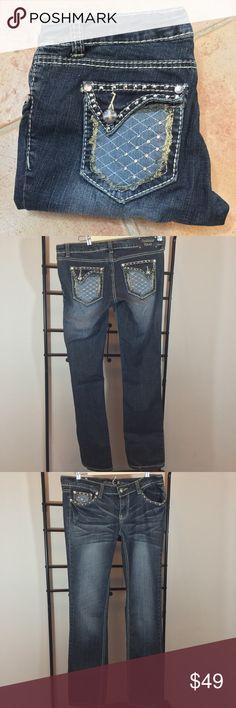 """🌷Embellished Antique Rivet Jeans🌷 Adorable & Flattering! Cotton-98% Spandex-2% Approximate Measurements: Waist-34"""" Hip-38"""" Front Rise-8"""" Back Rise-13"""" Inseam-32"""" Antique Rivet Jeans Straight Leg"""