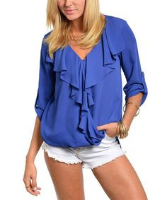 Royal Blue Ruffle Tab-Sleeve Top