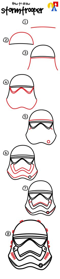 How to draw a First Order Stormtrooper helmet! (For people like me)