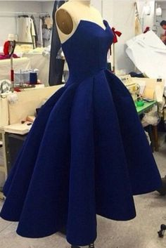 Navy blue satin prom dress, high low dress for teens