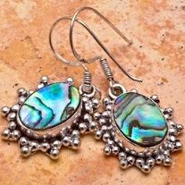 Beautiful Sterling Silver Plated Abalone Shell Gemstone Earrings