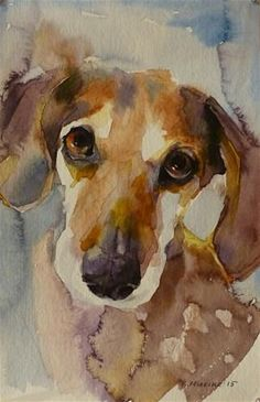 Daily Paintworks - - Original Fine Art for Sale - © Katya Minkina by tracey Art Aquarelle, Art Watercolor, Watercolor Animals, Animal Paintings, Animal Drawings, Dachshund Art, Daschund, Illustration Art, Illustrations