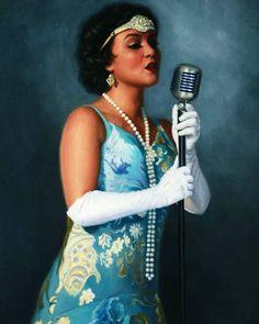 Australian Portrait Artist Vicki Sullivan Speakeasy a portrait of the amazing Lady Fox Jazz And blues singer White Lilly, White Crane, The Birth Of Venus, Canadian Models, Born To Run, Moon Goddess, Australian Artists, Art Gallery, Singer
