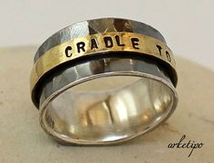 Personalized Ring of sterling silver and brass / Wedding Band..To Infinity and Beyond Ring.. .. Wedding Ring.. Custom Ring