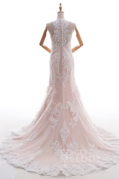 Impressive Trumpet-Mermaid Halter Natural Court Train Lace and Tulle Ivory/Champagne Sleeveless Zipper With Buttons Wedding Dress with Appliques LD4519