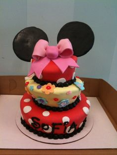 mini mouse birthday cake- love the name on this, the Disney font.....but that's about it :)