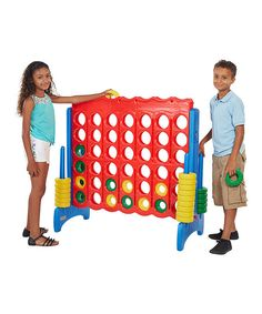Giving a tremendous twist to a classic toy, this sizable strategy ring-dropping game offers up fun in a big way. Whether Mega 4-in-Line is at the center of a rambunctious family tournament or a high-spirited activity for two, this game's sturdy construction and vibrant, youthful hues will appeal to everyone.