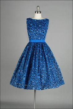 Vintage 1950s Dress  Blue Chiffon  Flocking  by millstreetvintage, $235.00