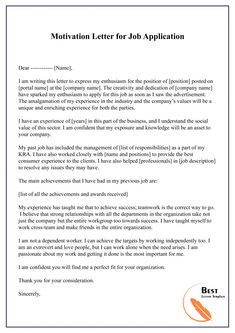 Tips to write a Motivation Letter for Job with Sample & Example have been available here in PDF & Word Doc. Format in this article. Job Letter, Job Cover Letter, Cover Letter For Resume, Job Application Letter Format, Job Application Example, Motivation Letter For Job, Job Motivation, Motivational Letter, Resume Cover Letter Examples