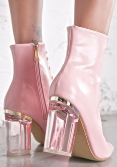 "coquettefashion:  "" Baby Pink Lace-up Lucite Block Heel Boots  """