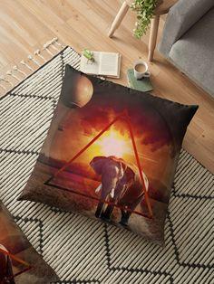 Coussin de sol 'An elephant at sunset by GEN Z' par Gen-Z Decoration, Artwork, Elephant, Cushions, Throw Pillows, Stickers, Sunset, Floor Cushions, Sun