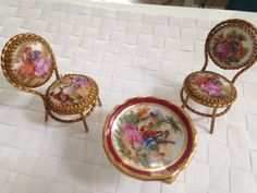 Vintage miniature limoges table and chairs designed for dolls house | eBay