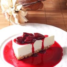 Lemon Cheesecake with Cherries - Simple Lemon Cheesecake with Cherries in Red Wine - light & refreshing.