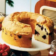 Blueberry Sour cream pound cake.  So pretty and so good. I served it with just a dollop of fresh whipped cream sprinkled with a bit of lemon zest.