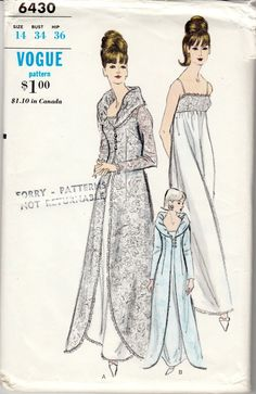 2057ad6649 Rare Vintage Sewing Pattern Ladies  Robe   Nightgown Vogue 6430 34