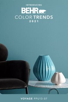 Enter a staycation state of mind with this tranquil and soothing aqua. Explore Voyage and the rest of our 2021 Color Trends Palette, inspired by the pursuit of elevated comfort at home.