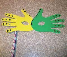 Mardi Gras Craft: Hand Print Mask @Bonnie S. Tanko I'm thinking SJA Mardi Gras!