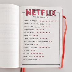 Netflix collection for your bullet journal