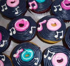 Cupcakes in Dallas for weddings, birthdays, baby showers Call 50s Theme Parties, 70s Party, Disco Party, Rock And Roll Birthday, 50s Rock And Roll, Bolo Musical, Grease Party, Grease Theme, Cupcake Delivery